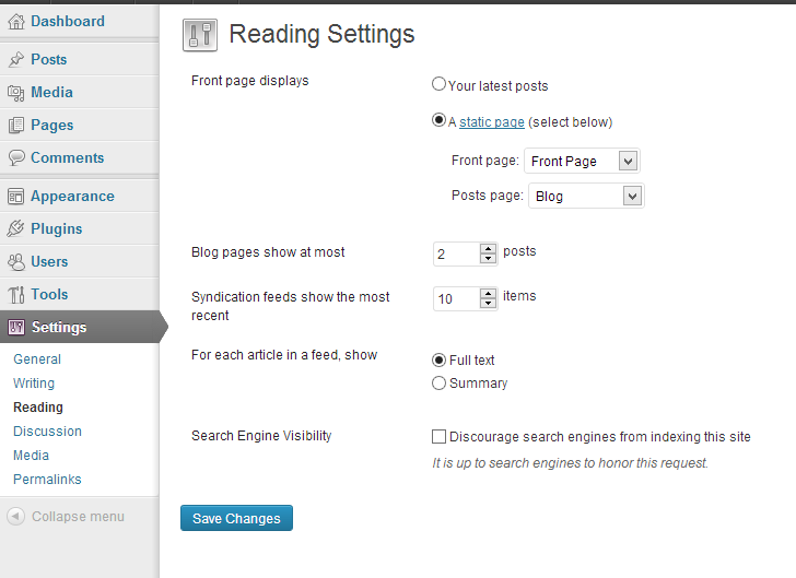 Configure WordPress Static Front Page