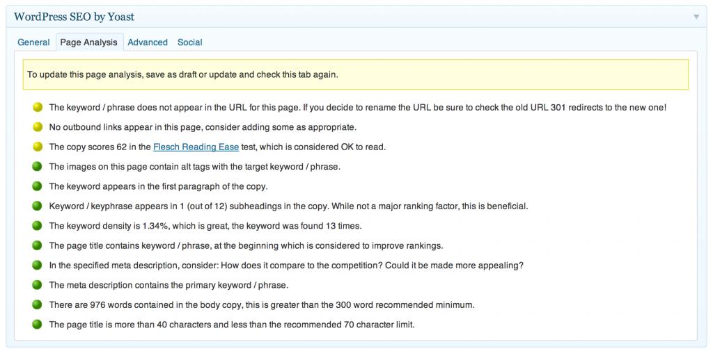 WordPress SEO Plugin Page Analysis