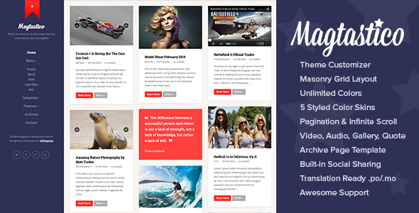 Magtastico Responsive Masonry Blog WordPress Theme