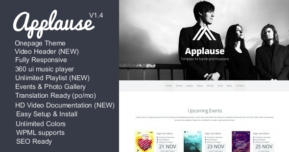 Applause -One Page Responsive Music & DJ WP Theme