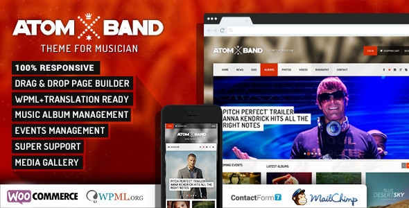 AtomBand-Responsive Dj Events & Music Theme