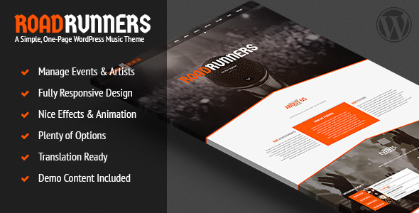 RoadRunners - A One-Page Music WordPress Theme
