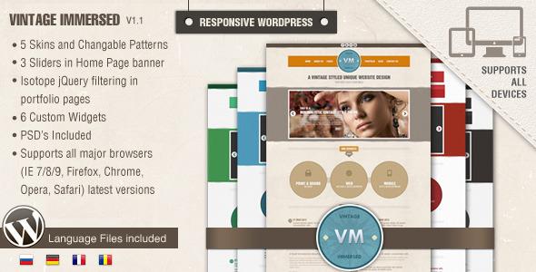 Vintage Immersed - Multipurpose Elegant Grunge WordPress Theme