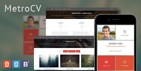 MetroCV - OnePage Resume Portfolio WordPress Theme
