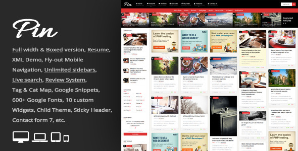 Pin - Grid Personal Magazine, CV Resume WP Theme