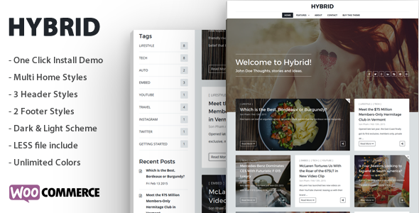 Hybrid - Clean & Modern WordPress Blog Theme