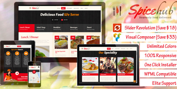 SpiceHub - Restaurant, Cafe, Bar WordPress Theme