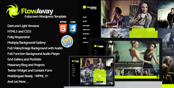 FlowAway WP Fullscreen Video, Image with Audio Theme