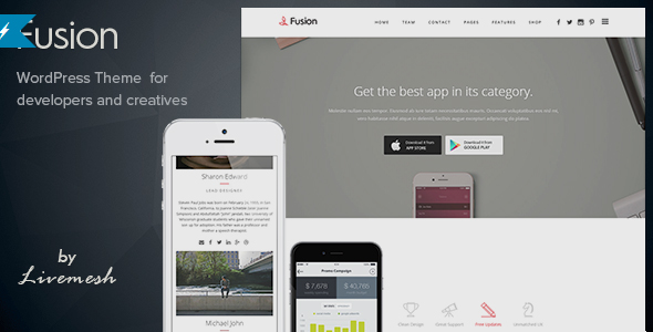 Fusion - Mobile App Landing WordPress Theme