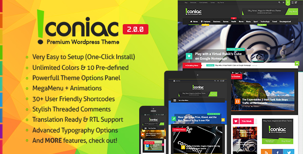 Iconiac - Flat Blog Magazine WordPress Theme