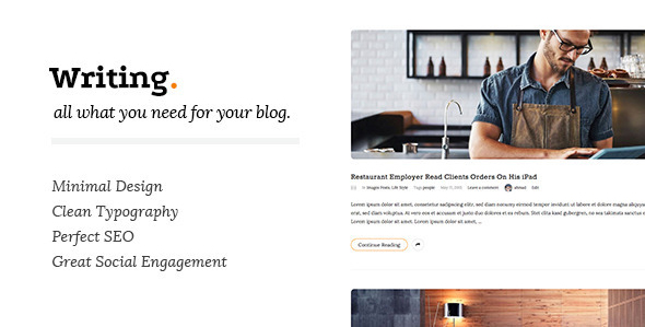 Writing Clean & Minimal Blog WordPress Theme