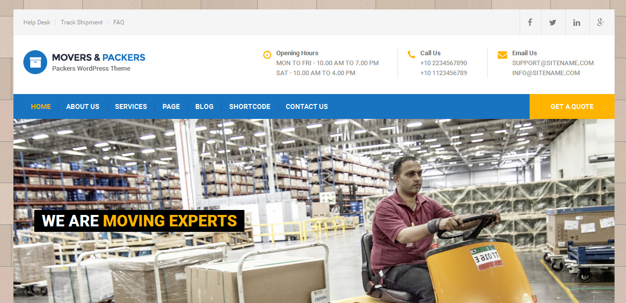 Movers Packers - Flat Design Free WordPress Themes