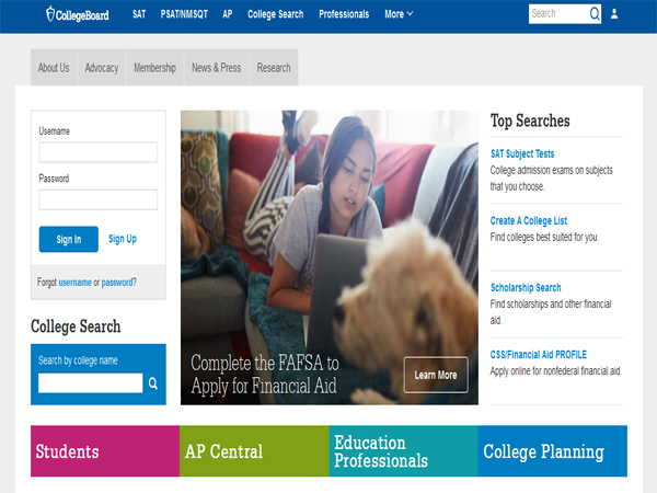 The College Board - Scholarship Website Designs