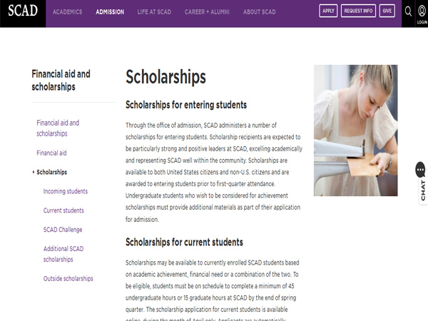 The Savannah College of Art & Design Scholarships